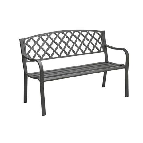 Struttura e seduta in acciaio, schienale in ghisa verniciato a polveri, colore grigio antracite, dimensioni 128x56x85 cm