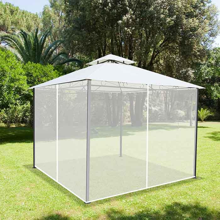 Set 4 Zanzariere Laterali di Ricambio per Gazebo 3x3 da Giardino con Bordo