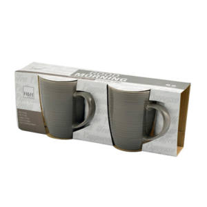 Set 2 Tazze Mug Ceramica Marroni con Piattino 320 cc Good Morning H&H