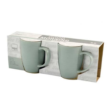 Set 2 Tazze Mug Verdi in ceramica 320 cc Good Morning H&H