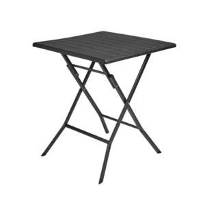 Tavolo pieghevole effetto legno quadrato nero 62x62x73 cm Cirella Papillon