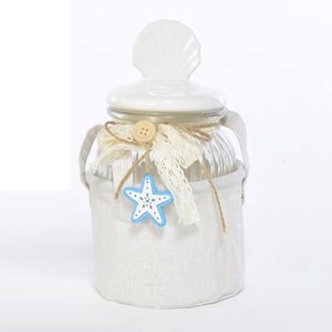 Barattolo Portofino decorato conchiglia con cestino in tessuto 24 cm