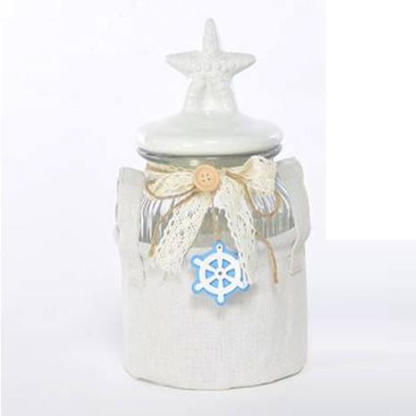 Barattolo Portofino decorato stella marina con cestino in tessuto 24 cm