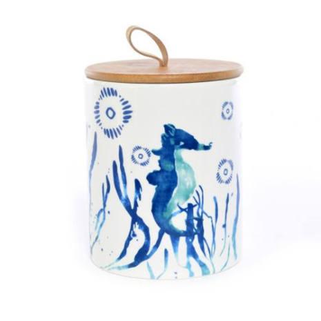 Barattolo biscotti decoro cavalluccio marino blu con tappo bamboo 17 cm