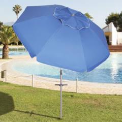 Ombrellone Spiaggia tondo Blu 220 cm Playa con Picchetto Papillon