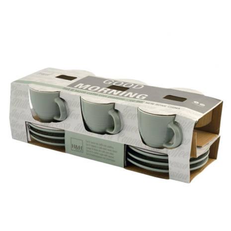 Set 6 Tazzine caffè verdi ceramica con piattino 80 cc Good Morning H&H