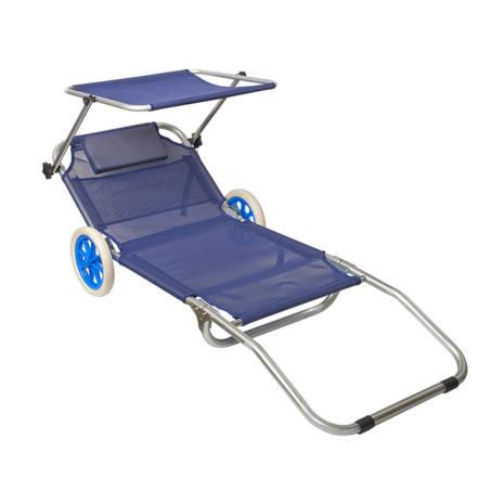 Spiaggina Pieghevole Blu con ruote Alluminio Papillon 145x65x15 cm