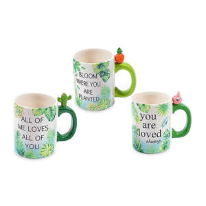 TAZZA MUG RIO JUNGLE Decori Floreali Tropicali Assortiti 12 cm