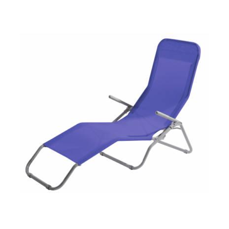 Lettino pieghevole schienale regolabile RICCIONE Blu 94x58x82 cm AXEL