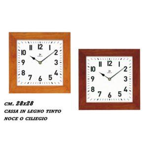 Orologio da parete quadrato cassa legno noce JM Lowell 28x28 cm