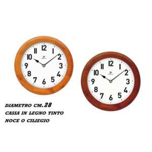 Orologio da parete rotondo cassa legno ciliegio JM Lowell Ø 28 cm