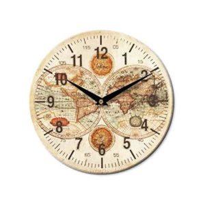 Orologio da parete rotondo legno decoro mappamondo Ø 28 cm