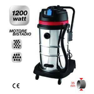 Bidone Idroaspiratore Solidi Liquidi fusto inox 50 L 1200 W bistadio Yamato