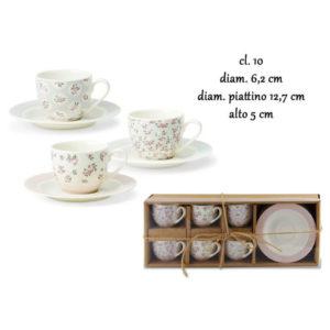 Set 6 Tazze Caffè Con Piattino in Porcellana nbc Modello SPRING 10 cl