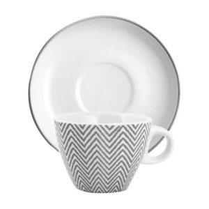 Set 6 tazzine caffè con piattino porcellana colore grigio bianco 100 cc H&H