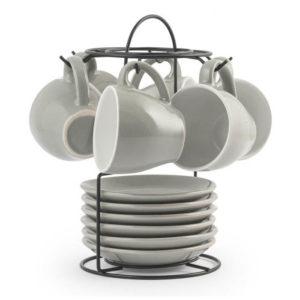 Set stand 6 tazzine caffè con piattino colore grigio 90 cc Royal Norfolk