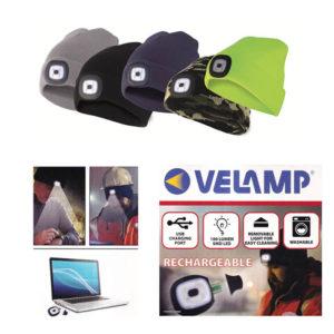 Berretto con LED Ricaricabile Tramite presa USB 100 Lumen VELAMP