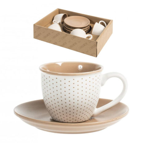 Set 4 tazzine caffè 90 ml con piattino Cinnamon H&H Porcellana decorata