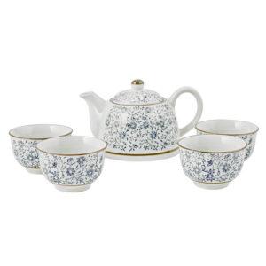 Set Teiera 400 cc e 4 tazze tè 120 cc in porcellana decorata H&H Jappone