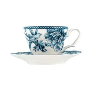 Tazza tè con piattino in porcellana decoro blu Adelaide H&H 230 cc