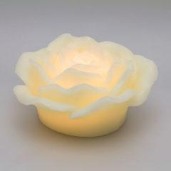 Candela Rosa Avorio 1 Led Classic effetto Fiamma Timer Batteria 12x5 cm