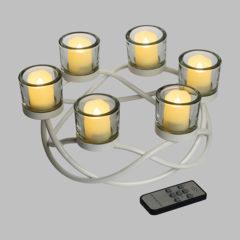Candeliere Intrecciato Metallo Bianco 6 Candele LED Classic Batteria 28x13 cm