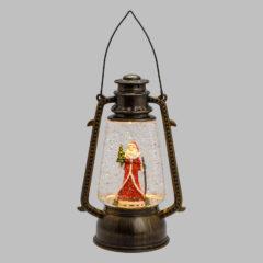 Lanterna vetro Natale glitter Led Bianco batteria ip20 portatile 15x11x24 cm