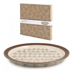 Piatto torta in stoneware decoro foglie ø 31 cm Michelle H&H