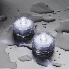 Set 2 Tea Light Sommergibili 1 Led Bianco Luce Fissa Batteria 3x2,5 cm