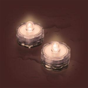 Set 2 Tea Light Sommergibili 1 Led Classic Luce Fissa Batteria 3x2,5 cm