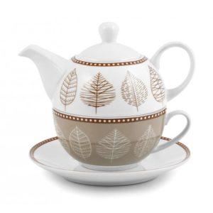 Set tazza tè con piattino e teiera porcellana decorata Michelle H&H