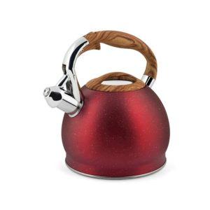 Bollitore inox con fischio granito rosso 2,5 litri H&H