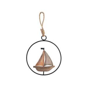 Quadro pendente barca Egeo H&H legno e metallo ø 12 cm