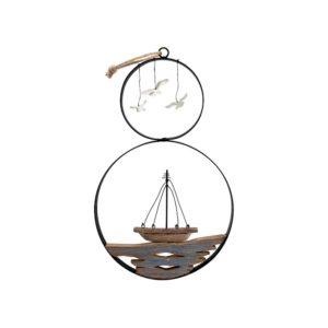 Quadro pendente barca e gabbiani Egeo H&H legno e metallo ø 24 cm