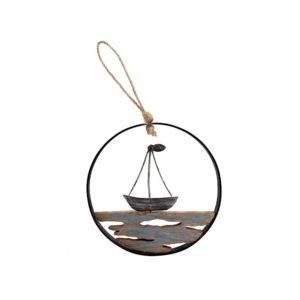 Quadro pendente barca su onde Egeo H&H legno e metallo ø 15 cm
