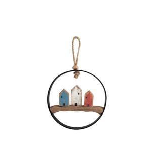 Quadro pendente casette colorate Egeo H&H legno e metallo ø 11 cm