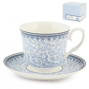 Set 2 tazze tè con piattino in porcellana 260 ml Blue Dream H&H