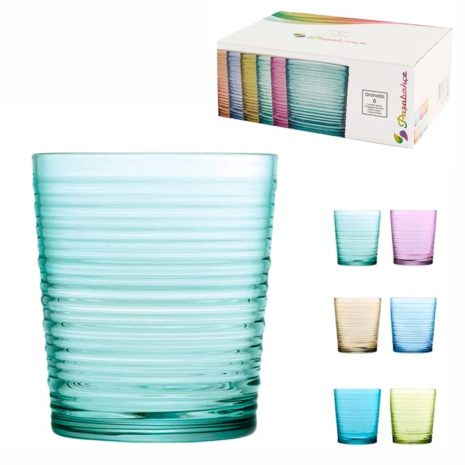 Set 6 Bicchieri Pasabahce Granada colori assortiti 41 cl