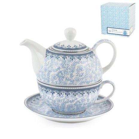 Set tè Tea for One tazza piattino teiera porcellana 400 ml Blue Dream H&H