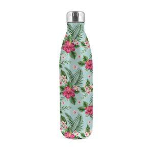 Bottiglia termica acciaio decoro tropical caldo freddo 12 ore 0,75 litri H&H