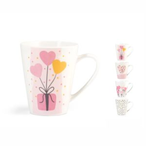 Tazza Mug decori cuori assortiti new bone china 325 ml Pulse H&H