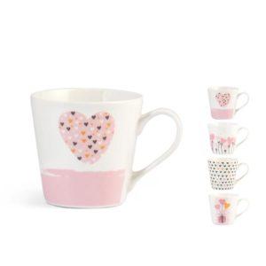 Tazza tè decori cuori assortiti new bone china 200 ml Pulse H&H