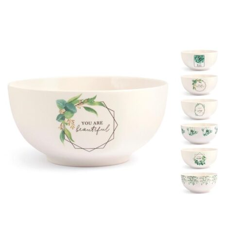 Tazza Scodella decori assortiti new bone china 600 cc Botanic H&H