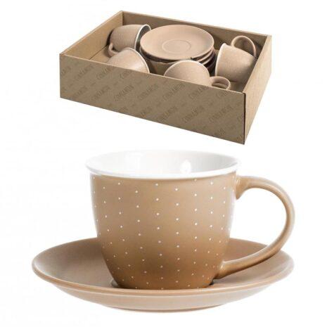 Set 4 tazzine caffè marrone 90 ml con piattino Cinnamon H&H Porcellana