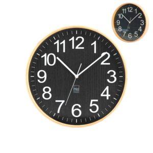 Orologio da Parete in legno chiaro e nero diametro 32 cm H&H