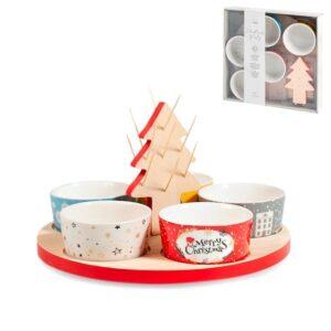 Set 5 coppette e vassoio Christmas Party H&H in porcellana e legno