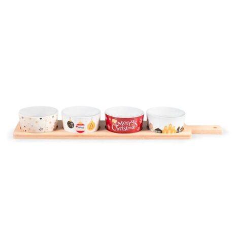 Set 4 coppette e vassoio Christmas Party H&H in porcellana e bambù