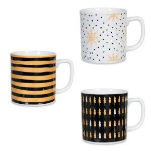 Tazza Mug Porcellana decoro Natale assortito oro nero 300 cc