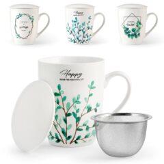 Tazza te tisana con coperchio e filtro 350 cc decori assortiti Botanic H&H