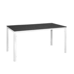 Tavolo rettangolare acciaio bianco e poliwood grigio Stintino 156x78x74 cm